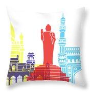 Hyderabad Skyline Pop Throw Pillow