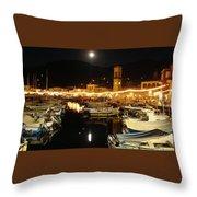 Hydra Island By Night  Throw Pillow