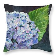 Hydrangea And Water Droplet Throw Pillow