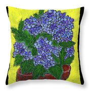 Hydrangea In A Pot Throw Pillow