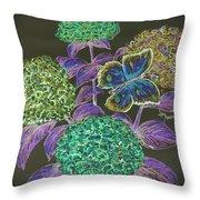 Hydrangea Negative Throw Pillow