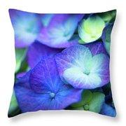 Hydrangea - Purple And Green Throw Pillow