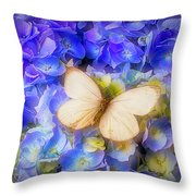 Hydrangea With White Butterfly Throw Pillow