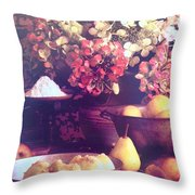 Hydrangeas And Pears Vignette Throw Pillow