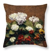 Hydrangeas And Wallflowers And Two Pots Of Pansies Throw Pillow
