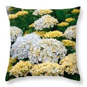 Hydrangeas Blooming Throw Pillow