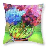 Hydrangeas In A Glass Vase Throw Pillow