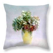 Hydrangeas In Autumn Still Life Throw Pillow