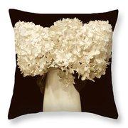 Hydrangeas In Sepia Throw Pillow