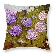 Hydrangeas On The Creek Bank Throw Pillow