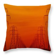 Hydro Power Lines And Towers Throw Pillow