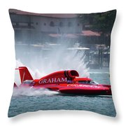 hydroplane racing boat on the Detroit river Throw Pillow