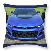 Hyper Blue Metallic 2017 Chevrolet Camaro Zl1 Throw Pillow