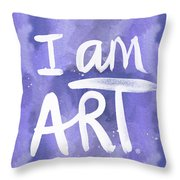I Am Art Painted Blue And White- By Linda Woods Throw Pillow