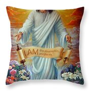 I Am The Resurrection Throw Pillow