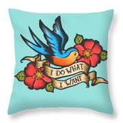 I Do What I Want Vintage Bluebird And Rose Tattoo Throw Pillow