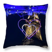 I Heart Boston Ma Christopher Columbus Park Trellis Lit Up For Valentine's Day Throw Pillow