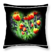 I Heart Tulips - Black Background Throw Pillow