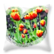 I Heart Tulips Throw Pillow