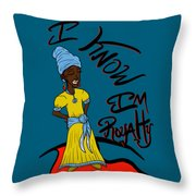 I Know Im Royalty Girl Throw Pillow