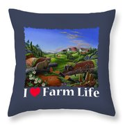 I Love Farm Life T Shirt - Spring Groundhog - Country Farm Landscape 2 Throw Pillow
