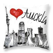 I Love Auckland  Throw Pillow