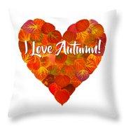 I Love Autumn Red Aspen Leaf Heart 1 Throw Pillow