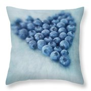 I Love Blueberries Throw Pillow