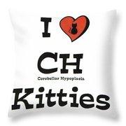 I Love Ch Kitties Awareness Throw Pillow