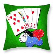 I Love Poker Throw Pillow