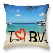 I Love The Bvi Throw Pillow