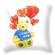 I Love You Bear Throw Pillow