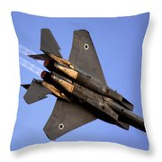 Iaf F15i Fighter Jet On Blue Sky Throw Pillow