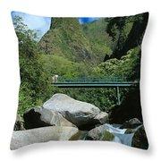 Iao Needle And Creek Throw Pillow