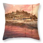 Ibiza Old Town At Sunset Throw Pillow