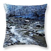 Ice Blue Forest Throw Pillow