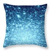 Ice Blue Galaxy Stars Throw Pillow