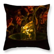 Ice Candle With Petunias Throw Pillow