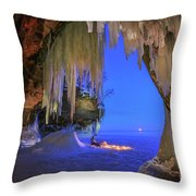 Ice Cave Setting Full Moon Serenity Throw Pillow