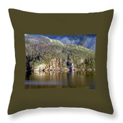 Ice Cliff In Autumn Throw Pillow