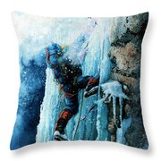 Ice Climb Throw Pillow by Hanne Lore Koehler