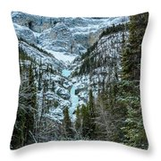 Ice Climbers Approaching Professor Falls Rated Wi4 In Banff Nati Throw Pillow