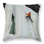 Ice Climbing Mummy II In Haylite Canyon Near Bozeman Throw Pillow