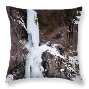 Ice Climbing The Scepter In Hyalite Canyon Throw Pillow
