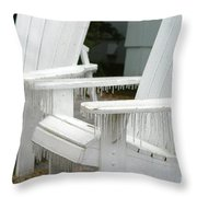 Ice-coated Chairs Throw Pillow