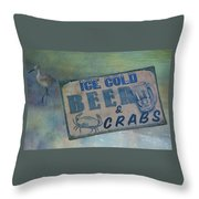 Ice Cold Beer And Crabs - Looks Like Summer At The Shore Throw Pillow