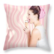 Ice Cream Pin-up Poster Girl Licking Waffle Cone Throw Pillow