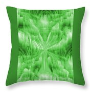Ice Crystal Angel - Green Throw Pillow