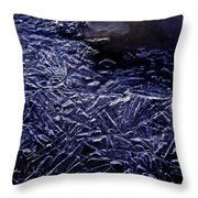 Ice Crystals In River Throw Pillow