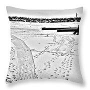 Ice Fishing On Lake Michigan Throw Pillow